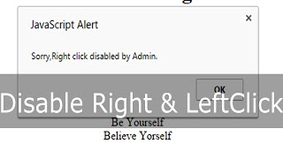 Disable Right Click & Left Click in Webpage[HTML]