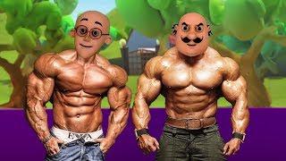 Motu Patlu VS John Body GIANT Ghasitaram Motu Patlu Coloring in Hindi - 3D Animation Kids Cartoon width=