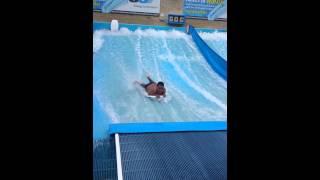 Sebastian at surfing pool