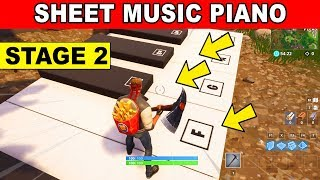 STAGE 2 : Play the Sheet Music at the piano near Pleasant Park LOCATION WEEK 6 CHALLENGES Fortnite