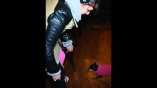 pink full leg cast
