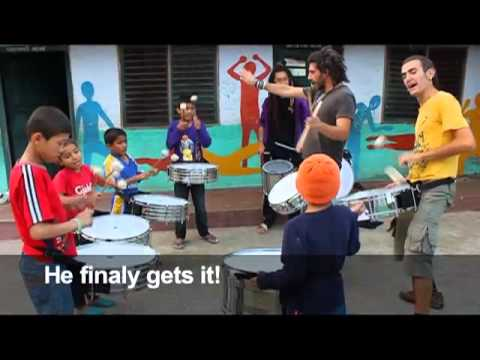 Volunteer Hugo Caminero Teaching Drumming to Street Children in Nepal