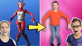 Fortnite Dances in Real Life w/ our Dad!!! width=