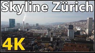 Zürich Hochhäuser / Skyline Zürich City (4K) Februar 2017