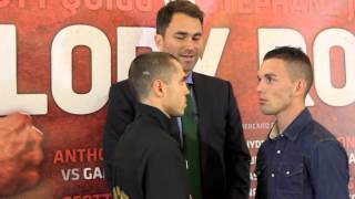SCOTT QUIGG v STEPHANE JAMOYE INTENSE STAIR DOWN HEAD TO HEAD @ MANCHESTER PRESS CONFERENCE