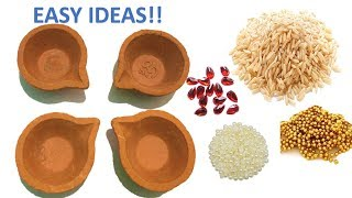 4 Quick and Very Easy Diya Decoration Ideas for DIWALI/ Diya painting competition