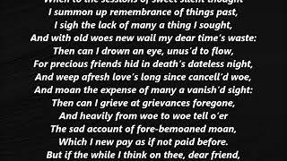 Sonnet XXX 30 Shakespeare LYRICS WORDS BEST TOP POPULAR FAVORITE TRENDING SING ALONG SONGS