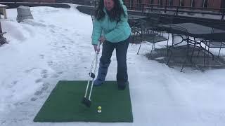 Celeste Golfs On Crutches