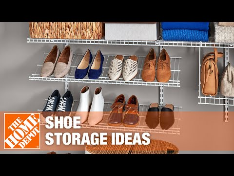 A closet with organized shoe storage.