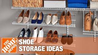 A closet with organized shoe storage.