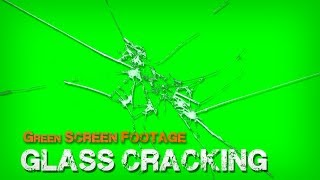 Green Screen footage Glass Cracking with sound effect 1080p