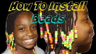How To Install Beads on Cornrows Cute Styles for kids || Vicariously Me