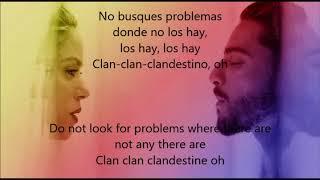 Shakira ft. Maluma - Clandestino (Spanish -English Lyrics)