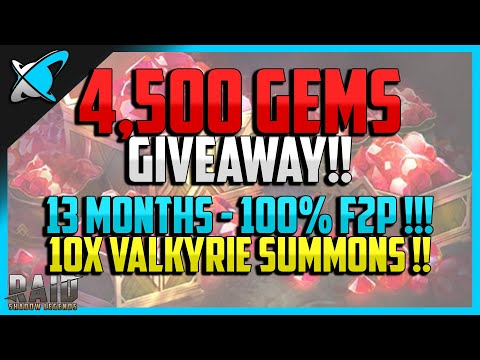RAID: Shadow Legends | 4,500 GEMS GIVEAWAY | 13 Months Progress | 10X Valkyrie Summons | F2P