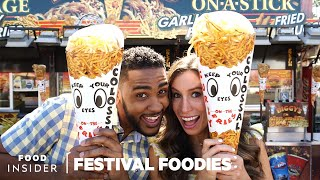 LA County Fair: Giant Curly Fry Cone & Chicken And Waffle On A Stick | Festival Foodies width=