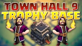 Defense Winning Town Hall 9 Trophy/Clan Wars Base! | Clash of Clans