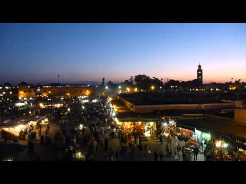 Jemaa el Fna at sunset, Marrakech, Morocco, March 2012