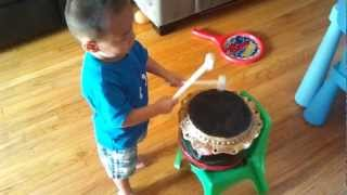 Jacob keeping a consistent beat with his drums�