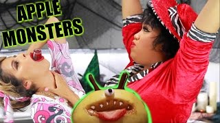 DIY HALLOWEEN TREATS | Apple Monsters width=