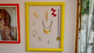 Mr. Kate DIY Wire Mesh Framed Jewelry Organizer