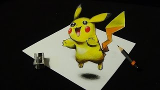 Drawing a 3D PIKACHU, Pokemon GO Illusion