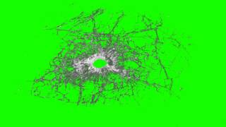 Glass bullet hole 03 in green screen free stock footage