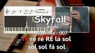 Skyfall Adele 007 Soundtrack Educação Musical Karaoke para flauta