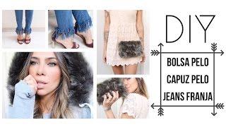 DIY Bolsa pelo Capuz pelo e franja no jeans por Dicadaka