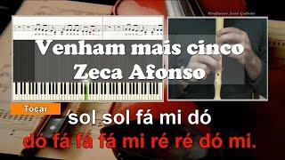 Venham + 5 Jose Afonso Karaoke das notas para flauta Educacao Musical Jose Galvao 25 de abril
