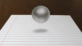 Floating Ball - 3D Trick Art on Line Paper
