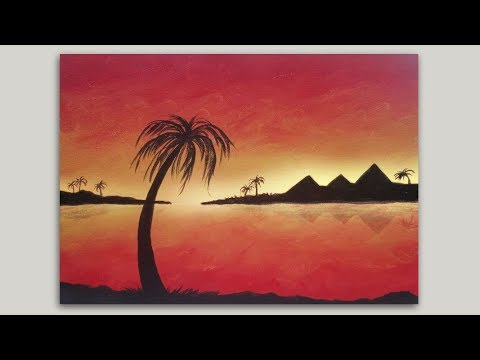 Pyramids Sunset Acrylic Painting: How to Paint a Landscape Silhouette Painting on Canvas
