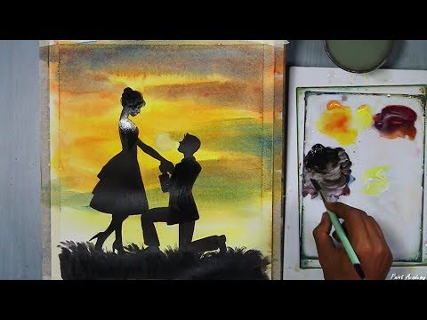 Beginners Acrylic Painting | Couple in Love silhouette painting