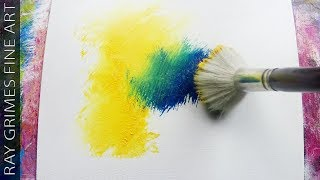 Easy Landscape Painting / 160 / Relaxing / Blue and Yellow / Abstract Painting / Demonstration