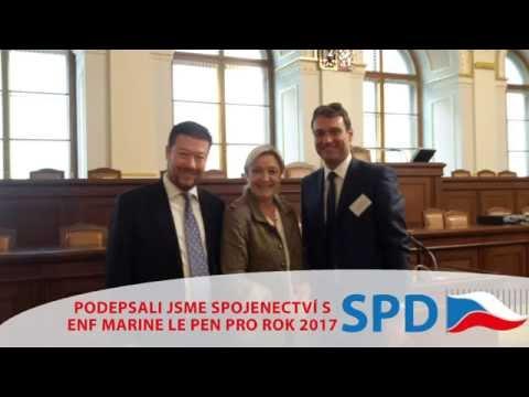 Tomio Okamura: Okamura (SPD) a Marine Le Pen budou spolu i v roce 2017
