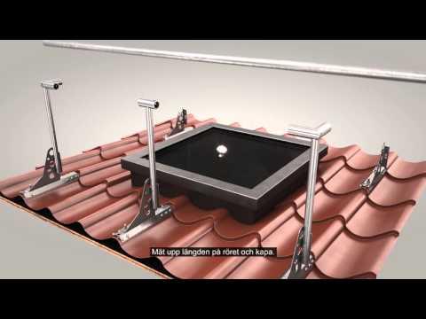 Skyddsräcke på tak och infästningsprofil för profilerade plåttak