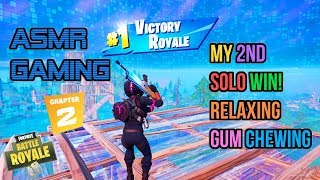ASMR Gaming   Fortnite Chapter 2 My 2nd Solo Win! Gum Chewing 🎮🎧Controller Sounds + Whispering😴💤