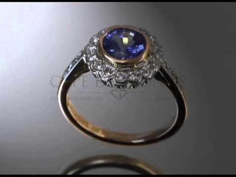 Complex stone ring,blue and white round diamonds,gold band with round diamonds,engagement ring