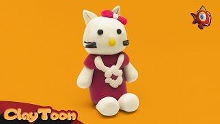How to make a cute cat with clay   كيفية عمل قطة لطيفة بواسطة الصلصال