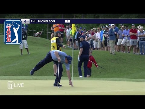 Phil Mickelson scrambles for a bounce back birdie at Shell