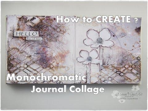Mixed Media Monochromatic Art Journal Collage Tutorial ♡ Maremi's Small Art ♡
