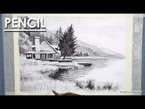 Pencil Drawing : shading a Landscape | easy techniques of shading house, mountains, trees