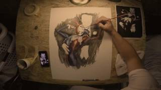 Speed Painting of Harley Quinn and The Joker Batman: Harley Quinn Cover