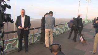 Seafront scuffle as Damian McBride goes live