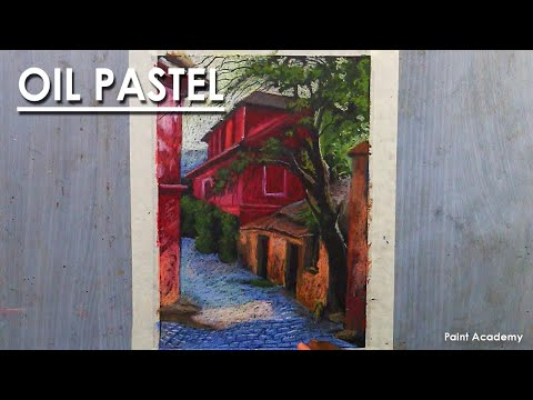 Oil Pastel Drawing : Composition on Beautiful Romanian Houses