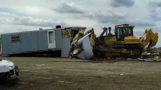 DOZER CRUSHES MOBILE HOME