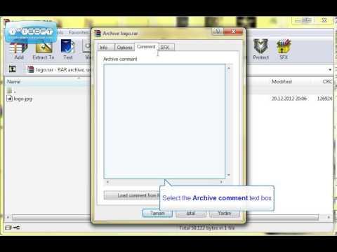 rar dosyalarına bilgi web site adresi vb. ekleme