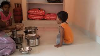Kid exciting to eat idli