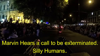 Marvin the Dalek at the Easter Procession. Bendigo, April  2017