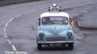 1967 POLICE MORRIS MINOR MKG 324F WITH 'BLUES & TWOS' ON NEAR BIG PIT COLLIERY, BLAENAVON.