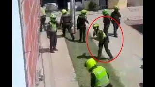 Policía atacó a piedras una vivienda y a ciudadano que lo grabó en Cali